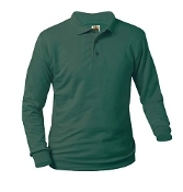 BOYS and GIRLS GREEN LONG SLEEVE POLO